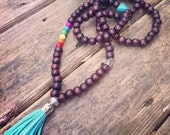 Yogi-inspired 108 wood bead mala meditation wrap bracelet necklace with multi colored chakra turquoise beads and tassel love and joy yoga