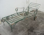 Vintage 1940's Green Wrought Iron Adjustable Chaise Lounge Chair