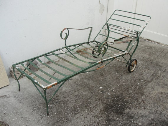 Vintage wrought iron chaise