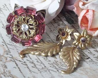Vintage Pink Crystal Ring & Pink Swarovski Crystal Brass Earring Set