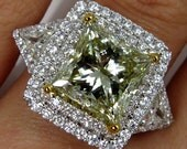Spectacular GIA 6.81ctw Estate Fancy GREEN YELLOW Princess Cut Diamond  Engagement , Anniversary or Wedding  Ring - Video