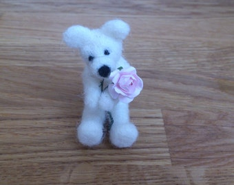 Valentines day gift needle felted miniature teddy bear with pink rose gift under 25