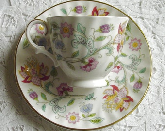 HADDON HALL Multi-color Chintz - B1451 - Demitasse, Demi-Cup + Saucer - Tea Party - Minton & Co. - Stoke-on-Trent, Staffordshire, England