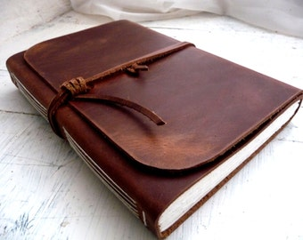 Leather Journal, A5, Travel Journal, Leather Wraparound Journal, Brown Leather, leather sketchbook Blank Book, Rustic