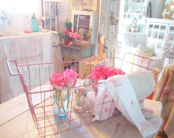 FREE SHIPPING Vintage pink metal basket  Shabby chic prairie cottage