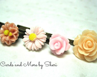 Peach and Pink Flower Bobby Pins - 4