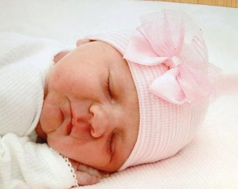 First Bow Newborn Hospital Hat Sparkle Tulle (newborn girl hat, newborn beanie, newborn hospital hat with bow, first bow)