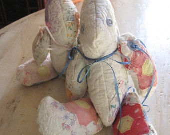 Two quilted patchwork pillow bunnies
