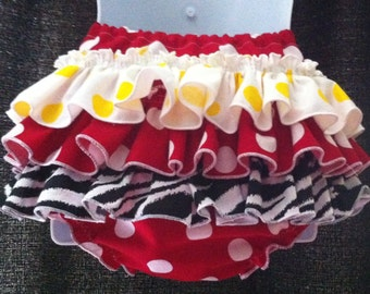 Cake Smash, Baby Ruffle Bloomers, Minnie Mouse Inspired, Red Polka Dot, Zebra, White and Yellow Polka Dot, Ready To Ship 12-18 months
