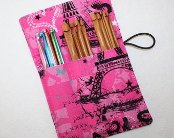 Bamboo Crochet Hooks, Pink Paris Eiffel Tower fabric Crochet Hook Organizer, Crochet Hook Holder, Set of 12 Bamboo Crochet Hooks