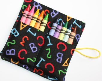 Crayon Rolls Party Favors, Alphabet and Numbers, crayon holder for 10 Crayons, Birthday Party Favors