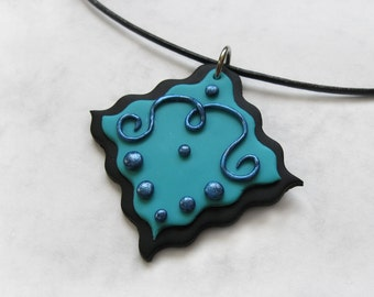 Swirly Royal abstract polymer clay pendant