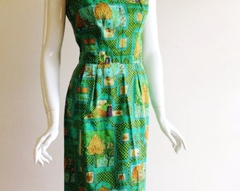 Vintage Tina Leser Resort Print Sheath Dress