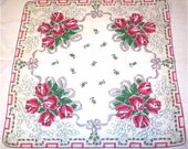 Vintage Rose Hanky, Large Pink Roses, Rose Bouquet, Cotton Handkerchief Red Gray Hankie, Lily of the Valley