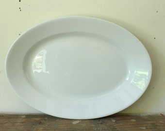 Large Vintage Platter White Ironstone Platter Antique J & G Meakin Ironstone China