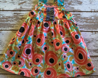 Sophia Dress - roses and turquoise