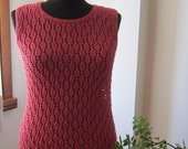 hand knitted dusty rose color - rose pink - tile red combed cotton sweater / top / blouse / tank / jumper / jersey / pullover