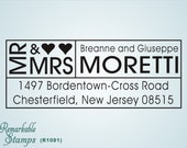 Custom Address Stamp - Mr and Mrs Names with Heart  - Etsy Design (R1081) Self-inking Just Married Wedding Gift