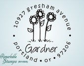 Round Address Stamp - Flowers - Cute Daisy Sunflower  - Personalized Etsy Design (R1008) - Return Address Stamp