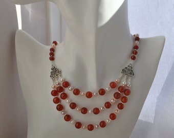 Three Strand Necklace with Fiery Red Carnelian and Freshwater Pearls Collar Bib Statement Necklace
