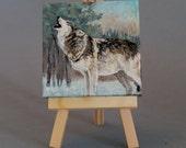 "Animal Art Original 3""X3"" Painting  ""Grey Wolf"""