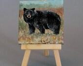 "Animal Art Original 3""X3"" Painting  ""Black Bear"""