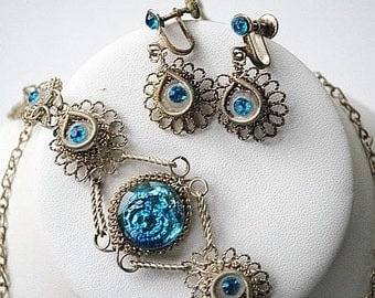 Aqua Blue Rhinestone Necklace Bracelet Earring Parure Set Silver Wire Mesh Vintage Art Deco