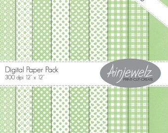 Baby mint download paper pack/INSTANT DOWNLOAD/Cardmaking/Scrapbooking/hearts download/stars printable/dots/gingham paper/check paper