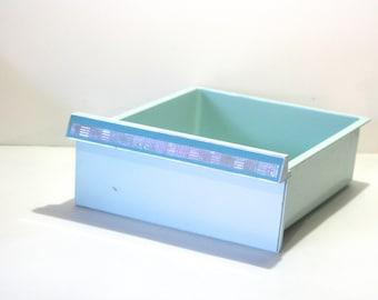 Vintage Turquoise Aqua Blue Refrigerator Drawer Box storage bin Retro decor Crisper Meat Vegetable drawer Upcycled Container Herb Garden