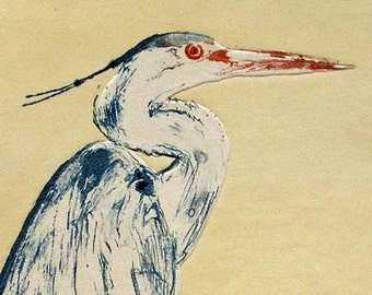 Ardea Herodeas.. This 2 plate etching is one of the artist's old favorites of a heron resting in a tree.