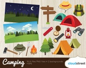 buy 2 get 1 free camping clip art / hiking clipart / scout camp summer camp vector graphics illustration / commercial use ok