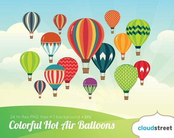 20% OFF Colorful Hot Air Balloons clipart for personal and commercial use ( summer hot air balloon clip art ) vector graphics