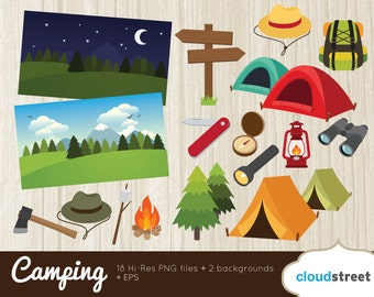 20% OFF camping clip art / hiking clipart / scout camp summer camp vector graphics illustration / commercial use ok