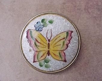 Lovely Vintage Guilloche Enameled Butterfly Brooch