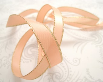 Gold Edged Peach Satin Ribbon 3/8 inch -- 3 yards -- Light Coral -- 9.5mm
