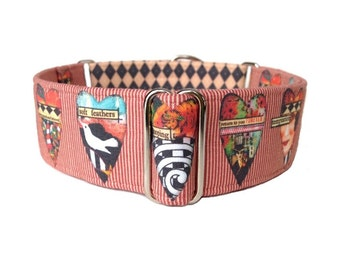 1.5 inch Martingale Collar or Buckle Collar, King of Hearts Dog Collar, Adjustable Hearts, Stripes and Harlequin Dog Collar, Collage Collar