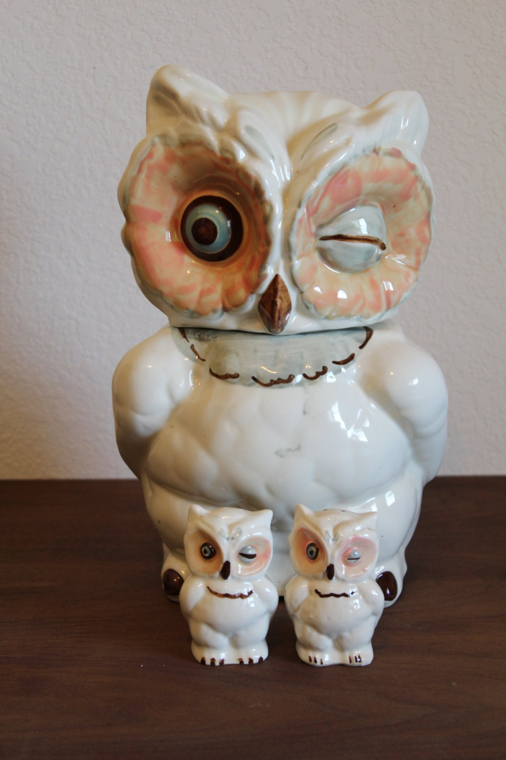 Vintage Shawnee Owl Cookie Jar &amp Salt and Pepper Shakers - Cyber Monday Home Decor