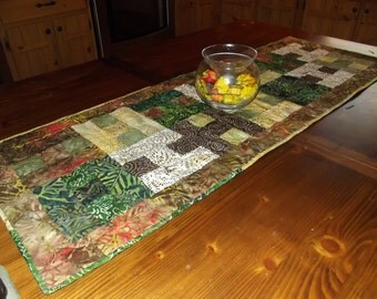 Batik Squared Quilted Table Runner