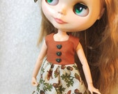 Autumn harvest Blythe doll dress and bow set