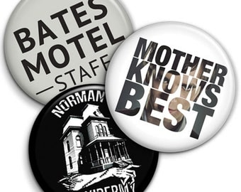 Set of 3 -Bates Motel - Button Badge - 25mm 1 inch - TV Series, Norman Norma bates