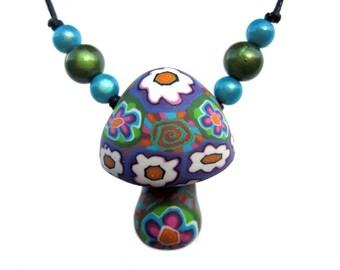 ON SALE Mushroom pendant, spiral and flower millefiori patterns, handmade from polymer clay, happy hippie mushroom necklace, flower power