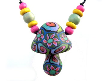 SALE Mushroom pendant, pretty flower and spiral millefiori patterns, hippie, colorful, handmade from polymer clay, one of a kind, with beads