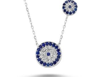 Turkish  Evil Eye Cz Celebrity Necklace ,  Sterling Silver