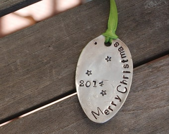 Merry Christmas 2016 hand stamped ornament SPOON vintage silver plate With Stars Lime Green Ribbon