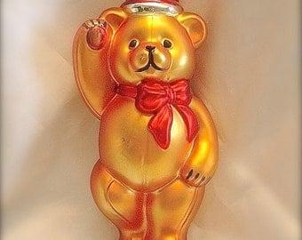 Large teddy bear Christmas ornament (10 inch tall) , Christmas teddy bear ornament, large mercury glass teddy bear ornament, Bear ornaments