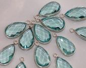 Aquamarine Blue Quartz Faceted Pear Bezel Gemstone Sterling Silver Pendant, 20 x 10 mm GM2233FP/20/SP