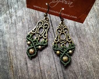 Micro Macrame earrings boho bohemian hippie gypsy woodland elf knotted micromacrame