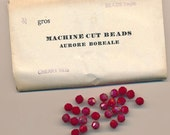 Wow - 24 vintage Western Germany cherry red AB crystals - round faceted crystals - 7 mm