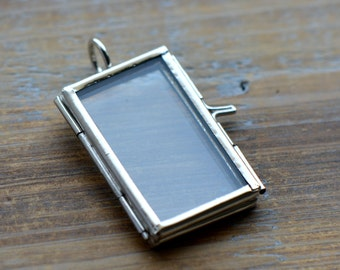 SILVER Glass Frame Pendant RECTANGLE Shape Double Sided Glass Hinged Locket Picture Frame Pendant Charm Jewelry Pendant (BD013)