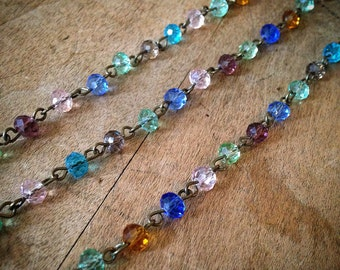 100cm Round Faceted Multi-color Bead Necklace Chain 5mm Glass Bead Antique Bronze Chain Jewelry Making Supplies (EC047)